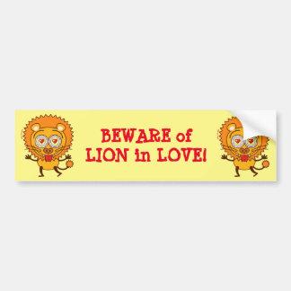 Brave lion feeling wildly in love bumper sticker