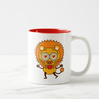 Brave lion feeling wildly in love Two-Tone coffee mug