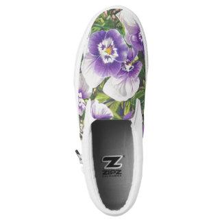 Brave Pansie White Purple Art Print Slip-On Sneakers