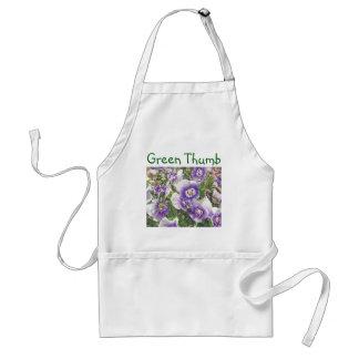 Brave Pansies white purple Color Pencil drawing Adult Apron