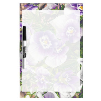 Brave Pansies white purple Color Pencil drawing Dry-Erase Board