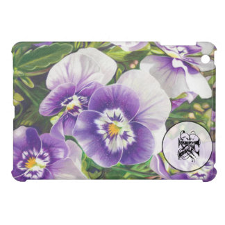 Brave Pansies white purple Color Pencil drawing iPad Mini Cover