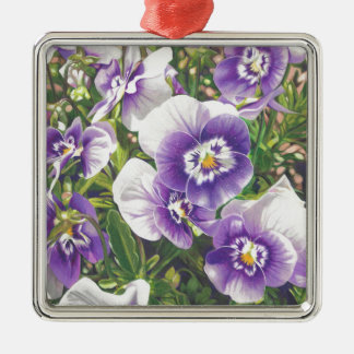 Brave Pansies white purple Color Pencil drawing Metal Ornament