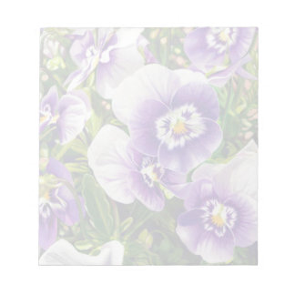 Brave Pansies white purple Color Pencil drawing Notepad