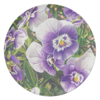 Brave Pansies white purple Color Pencil drawing Plate