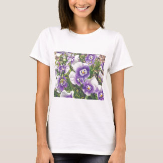 Brave Pansies white purple Color Pencil drawing T-Shirt