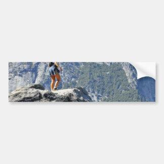 Brave Person Walking Out On The Glacier Point Ledg Car Bumper Sticker