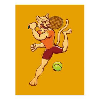 Brave puma smashing a tennis ball postcard