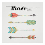 """Brave Spirit"" Text with Boho Arrow Pattern 