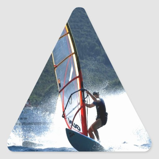 brave surfing sea and wave triangle sticker