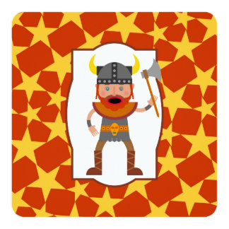Brave viking warrior birthday party card