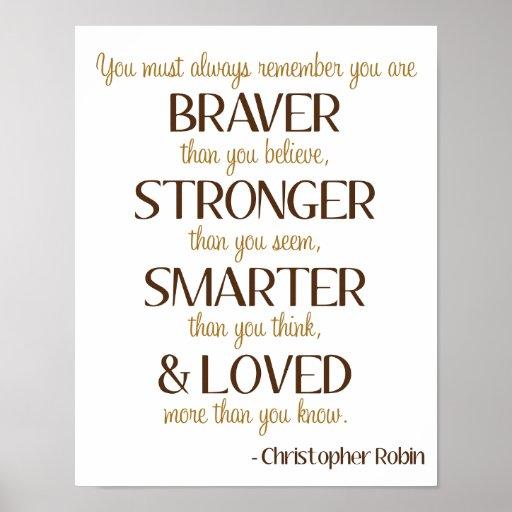 Braver Stronger Quote B is for Bear Art Poster