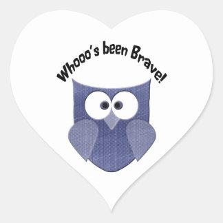 Bravery Blue Cute Owl Heart Sticker