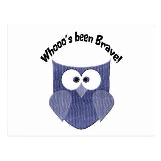Bravery Blue Cute Owl Post Cards