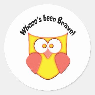 Bravery Cute Owl Classic Round Sticker