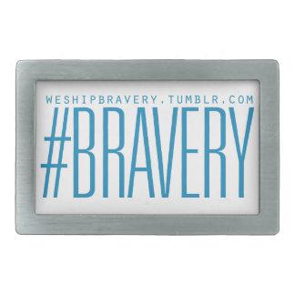 #Bravery Gifts - Light Blue on White Rectangular Belt Buckle