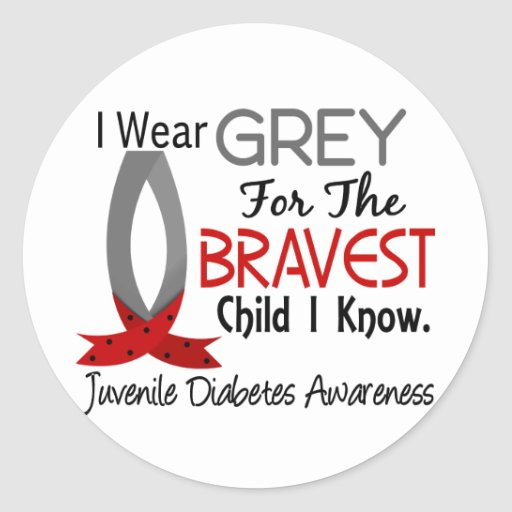 Bravest child i know juvenile diabetes round stickers zazzle for Stickers juveniles