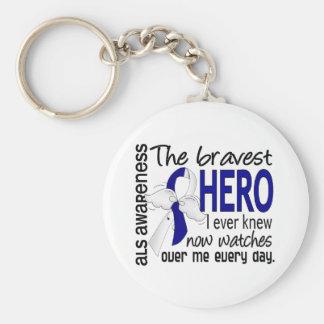 Bravest Hero I Ever Knew ALS Basic Round Button Keychain