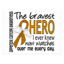 Bravest Hero I Ever Knew Appendix Cancer Postcard