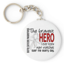 Bravest Hero I Ever Knew Bone Cancer Keychain