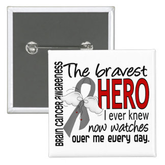 Bravest Hero I Ever Knew Brain Cancer 2 Inch Square Button