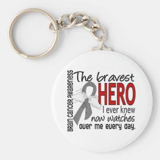 Bravest Hero I Ever Knew Brain Cancer Basic Round Button Keychain