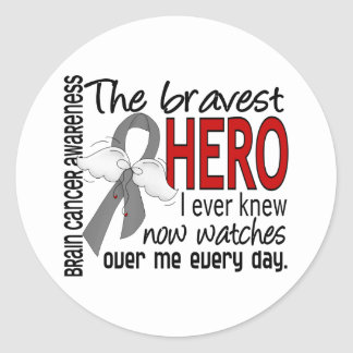 Bravest Hero I Ever Knew Brain Cancer Classic Round Sticker
