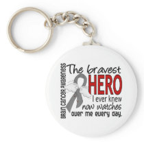 Bravest Hero I Ever Knew Brain Cancer Keychain