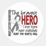 Bravest Hero I Ever Knew Brain Cancer Round Stickers
