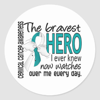Bravest Hero I Ever Knew Cervical Cancer Classic Round Sticker