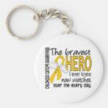 Bravest Hero I Ever Knew Childhood Cancer Basic Round Button Keychain