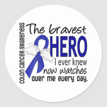 Bravest Hero I Ever Knew Colon Cancer Classic Round Sticker