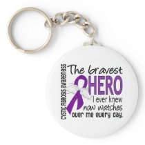 Bravest Hero I Ever Knew Cystic Fibrosis Keychain