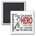 Bravest Hero I Ever Knew Diabetes 2 Inch Square Magnet