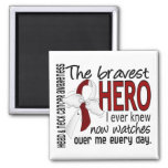 Bravest Hero I Ever Knew Head and Neck Cancer 2 Inch Square Magnet