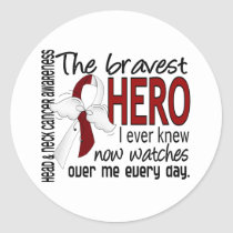 Bravest Hero I Ever Knew Head and Neck Cancer Classic Round Sticker