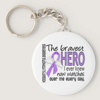 Bravest Hero I Ever Knew Hodgkin's Lymphoma Keychain