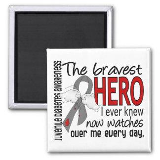 Bravest Hero I Ever Knew Juvenile Diabetes 2 Inch Square Magnet