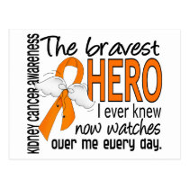 Bravest Hero I Ever Knew Kidney Cancer Postcard