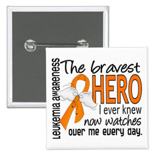 Bravest Hero I Ever Knew Leukemia 2 Inch Square Button