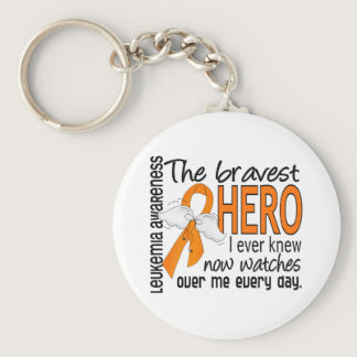 Bravest Hero I Ever Knew Leukemia Keychain