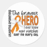 Bravest Hero I Ever Knew Leukemia Round Sticker