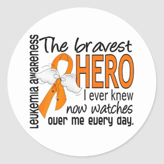 Bravest Hero I Ever Knew Leukemia Classic Round Sticker