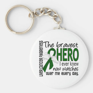 Bravest Hero I Ever Knew Liver Cancer Keychain
