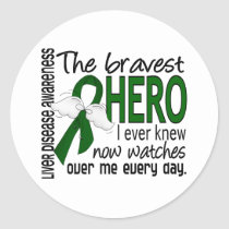Bravest Hero I Ever Knew Liver Disease Classic Round Sticker