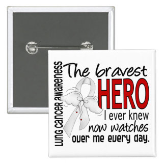 Bravest Hero I Ever Knew Lung Cancer 2 Inch Square Button