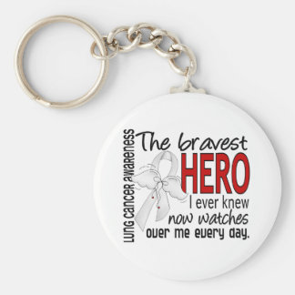 Bravest Hero I Ever Knew Lung Cancer Keychain