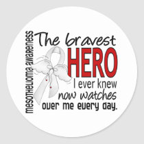 Bravest Hero I Ever Knew Mesothelioma Classic Round Sticker