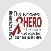 Bravest Hero I Ever Knew Multiple Myeloma Classic Round Sticker