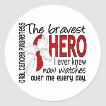 Bravest Hero I Ever Knew Oral Cancer Classic Round Sticker